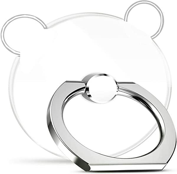 スマホリング 透明 クリア ホールド リング 薄型 おしゃれ リングスタンド バンカーリング 指輪リング 落下防止・片手操作・スタ.