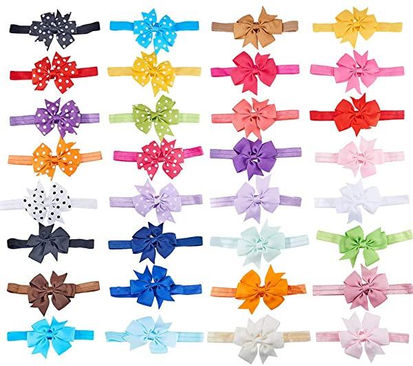 ヘアアクセサリー 約32個 セット 約32個/セット(柄付き) ヘアバンド カチューシャ 蝶結び 髪飾り ヘアバンド 弾力性 伸縮性 リボ.
